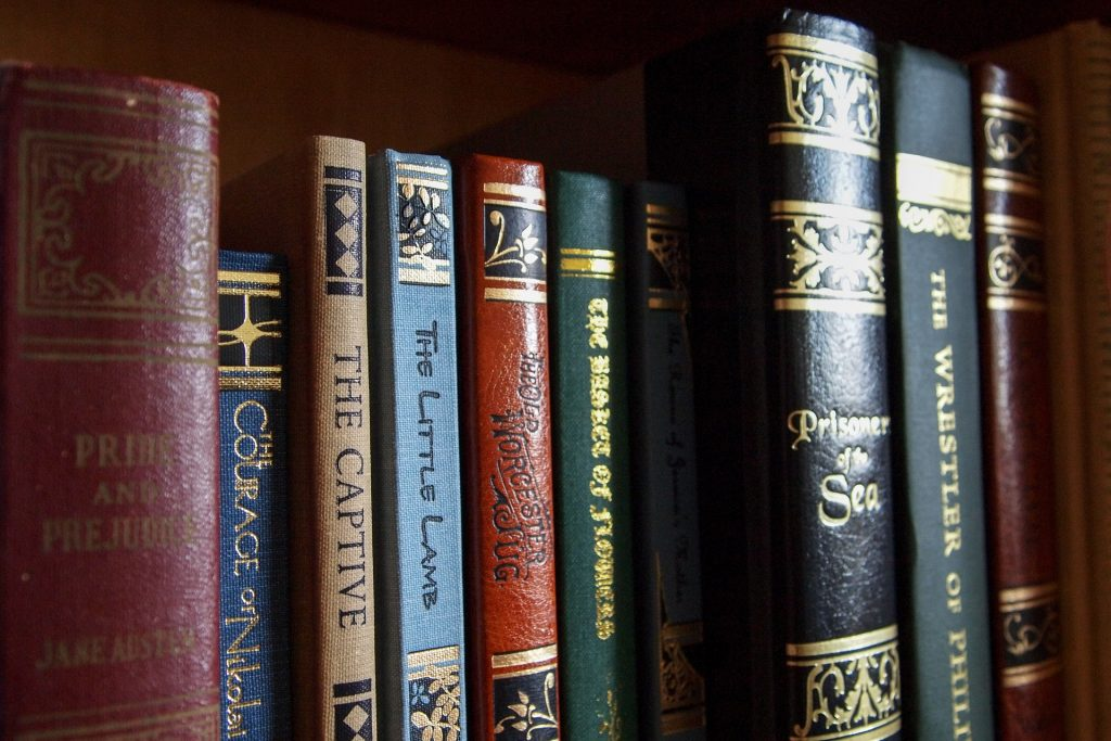 row of classical books